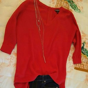 Express red zip up back sweater